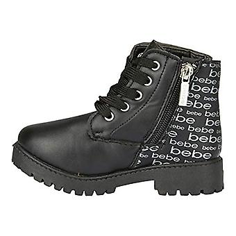 Toddler Girls PU Lace Up Combat Boots Comfort Slip-On Mid-Calf Short Shoes