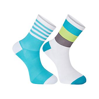 Madison White-Peacock Blue 2018 Sportive Pack of 2 Cycling Socks