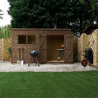 Mercia 10x6ft Pressure Treated FSC Timber Pent Roof Garden Shed with Mineral Roof Covering