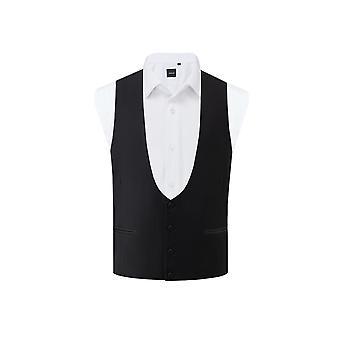 Dobell Herren schwarz Tuxedo Weste regelmäßige Fit Hufeisen