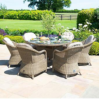 Maze Rattan Winchester 6 Seat Round Heritage Dining Set with Fire Pit