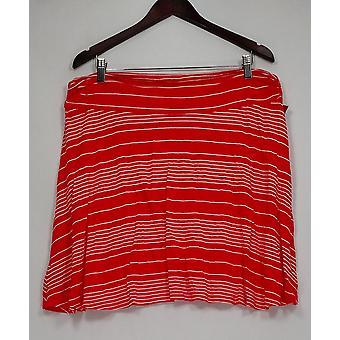 Merona Skirt Striped Pull-on A-line Orange/White Womens