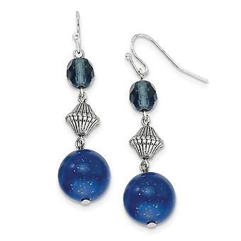 Silver-tone Shepherd hook Blue Bead and Crystal Dangle Earrings