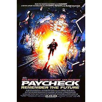 Paycheck (yksipuolinen säännöllinen) alkuperäinen elokuva julisteet