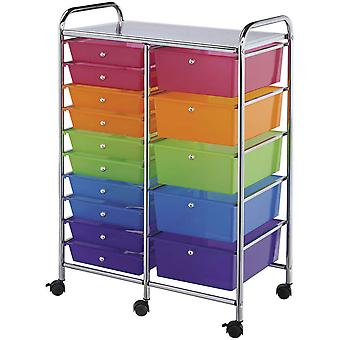 Double Storage Cart with 15 Drawers 38