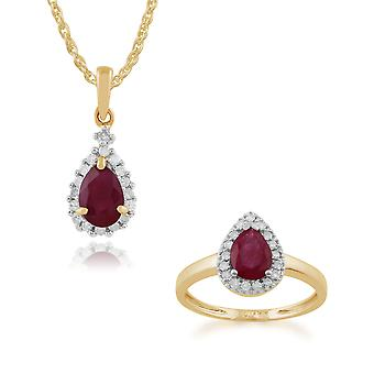 Gemondo 9ct Yellow Gold Ruby & Diamond Cluster 45cm Necklace & Ring Set