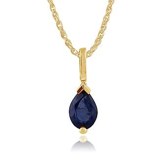 Gemondo 9ct Yellow Gold 0.85ct Pear Light Blue Sapphire Pendant on Chain