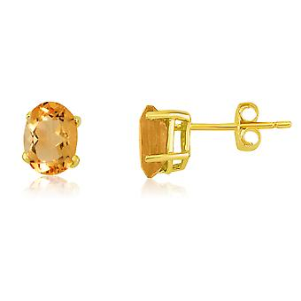 14k Yellow Gold Oval Citrine Stud Earrings