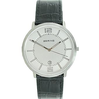 Bering mens watch wristwatch slim classic - 11139-000 leather