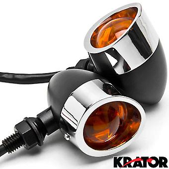 2pc Black / Chrome Motorcycle Turn Signals Lights For Honda Silver Wing Trail 70 90 110 125