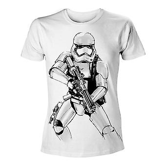 Star Wars Vii The Force Awakens Adult Male Armed Stormtrooper Sketch T-Shirt Extra Extra Large White (TS204394STW-2XL)