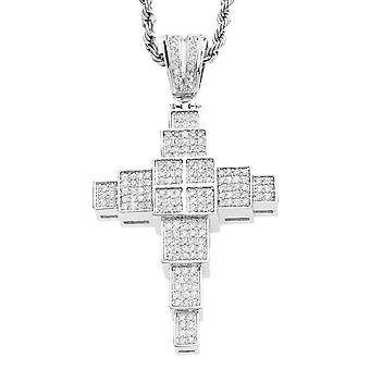 Iced out bling MICRO PAVE BLOCK CROSS pendant-