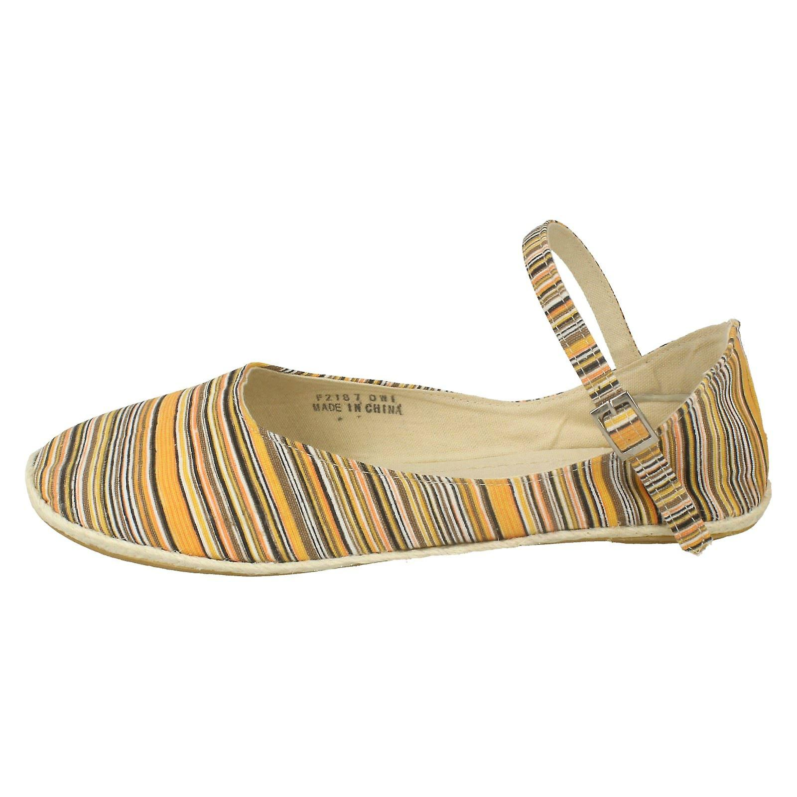 Ladies Spot Flat On Espadrille with Bar Strap ffqOPrvWg