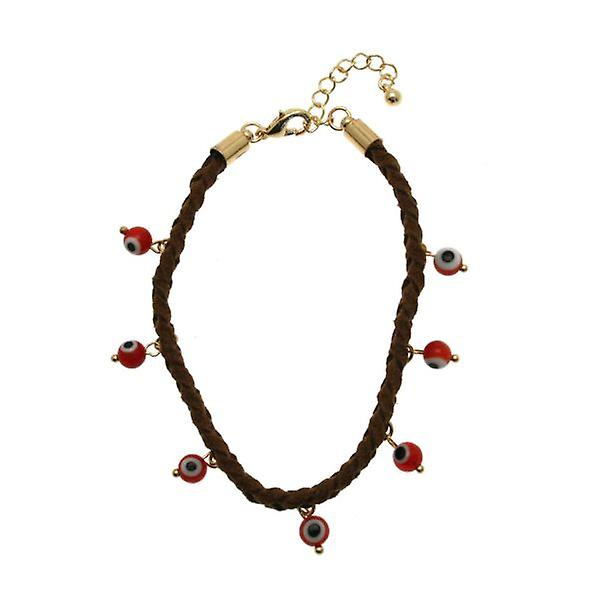 W.A.T Faux Suede  And Red Coloured Evil Eye Bracelet