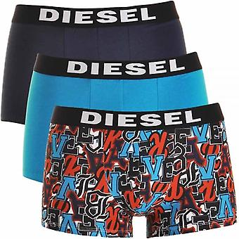 DIESEL 3-Pack Boxer Trunk UMBX-Shawn, Navy / Blue / Graffiti Print, Large