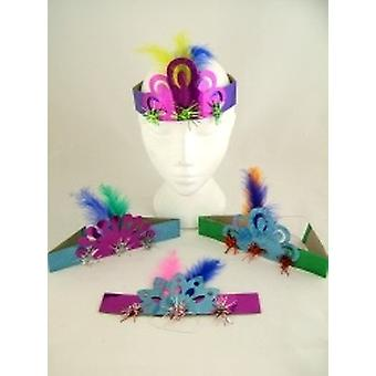"""Holographic Fringed Tiaras 8"""" Assorted Colours Pack of 100"""