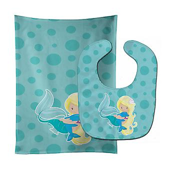 Carolines Treasures  BB8820STBU Beach Mermaid Blue Baby Bib & Burp Cloth