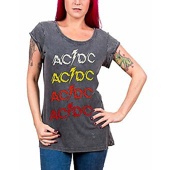 AC/DC T Shirt Powerage Repeat Band Logo Official Womens New Acid Wash Skinny Fit