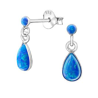 Tear Drop - 925 Sterling Silver Opal And Semi Precious Ear Studs - W23618x