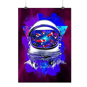 Matte or Glossy Poster with Space Fish Helm Fantasy | Wellcoda | *d2814