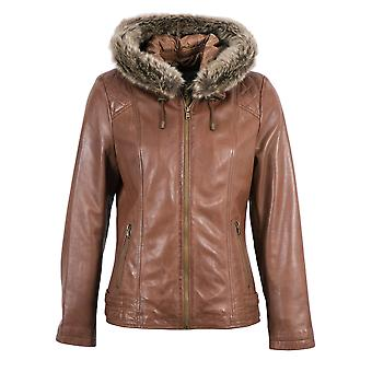 Allonby Hooded Leather Jacket in Brandy