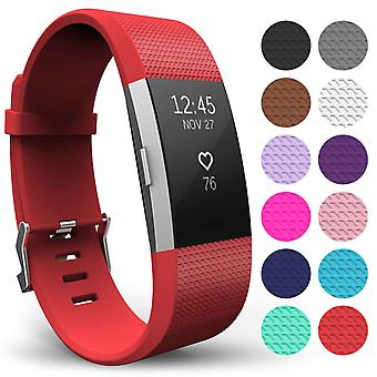 Yousave Fitbit carga 2 correa simple (pequeño) - rojo