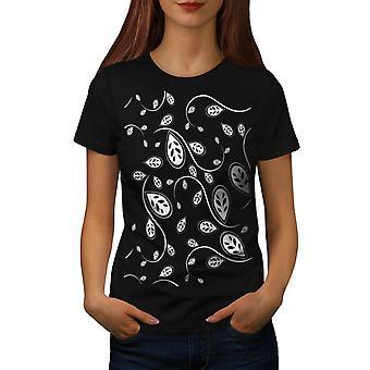 Leaf Trendy Print Women BlackT-shirt | Wellcoda