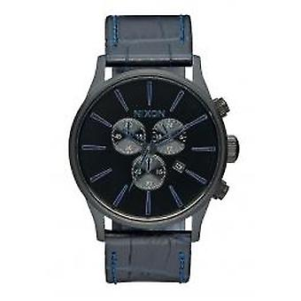 Nixon The Sentry Chrono Leather Navy Gator (A4052153)