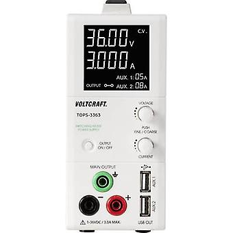 Bench PSU (adjustable voltage) VOLTCRAFT TOPS-3363 1 - 36 Vdc 0.25 - 3 A 100 W slim type No. of outputs 3 x
