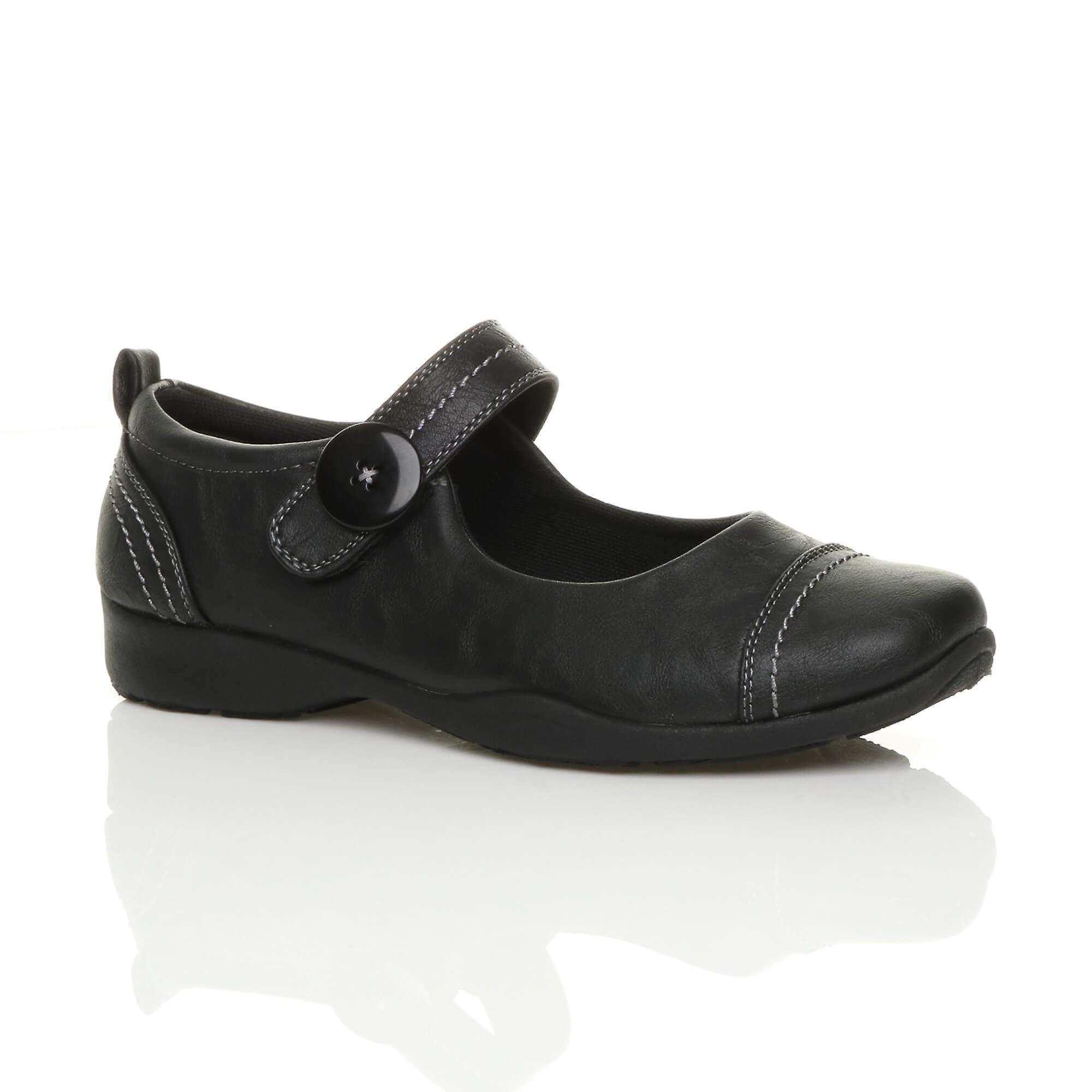 Ajvani womens low heel mary jane strap walking work flexible comfort shoes