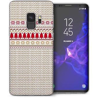 Samsung Galaxy S9 kerstboom Fairisle Jumper TPU Gel geval – rood