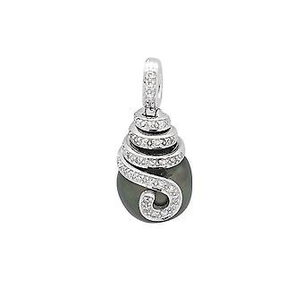 Diamonds, Tahitian Pearl pendant and white 750/1000 gold