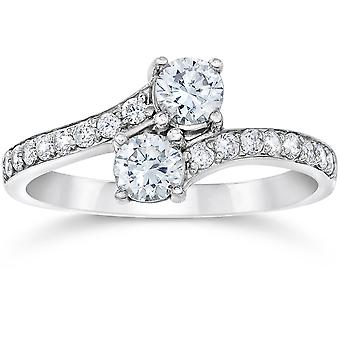 3/4ct 2-Stone Forever Us Diamond Ring 10K White Gold