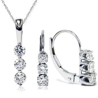 7 / 8ct 3 камень алмаз серьги & кулон набор 14K Белое золото