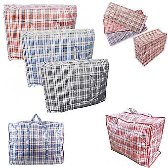 10 x Strong 56cm x 49cm Quality Storage Laundry Zipped Bag Recycled Reusable Bags