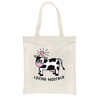 Loving Moother Cow Heavy Cotton Canvas Bag Cute Grocery Bag For Mom