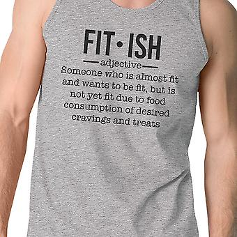 Fit-ish Mens Grey Funny Saying Tank Top Gag Workout Gift For Him