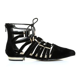 KAREN Black Suede Pointed Toe Lace Up Gladiator Sandal Shoes with Gold Trim