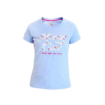 Moody Cow Floral Print Tee - Mid Blue