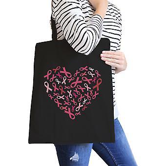 Heart Pink Ribbon Canvas Tote Black Cute Canvas Shoulder Bag Gift