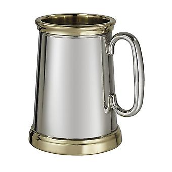 Wortley Pewter and Brass Heavy Tankard 1 Pint