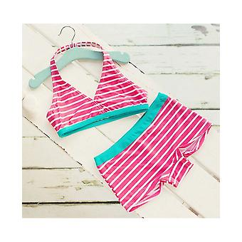 Big Fisch Girls Striped Bikini - Raspberry
