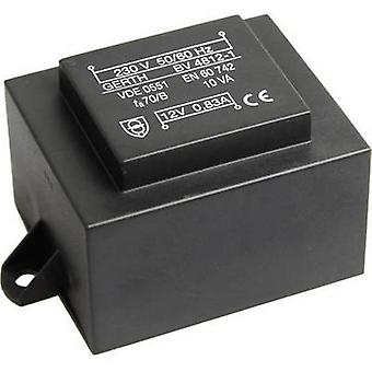 PCB mount transformer 1 x 230 V 1 x 8 V AC 10 VA 1250 mA PT480801F Gerth