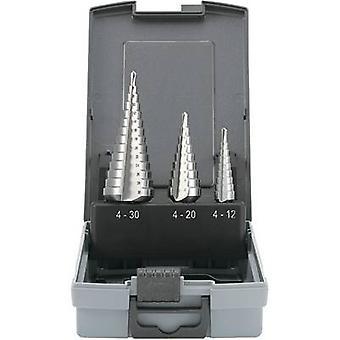 HSS Step drill bit set 3-piece 4 - 12 mm, 4 - 20 mm, 6 - 30 mm TOOLCRAFT 821395 Cylinder shank 1 Set