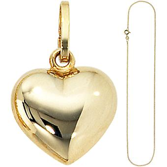 Charms, small heart sweetheart 333 gold with chain 50 cm gold heart