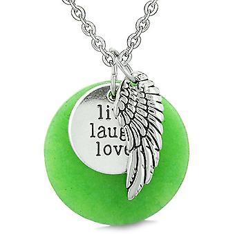 Guardian Angel Wing Live Laugh Love Inspirational Medallion Magic Amulet Green Quartz Necklace