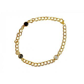 Onyx - smoky quartz - pink - Black - Brown - chain - gold plated ladies - bracelet - - Rose Quartz - smooth