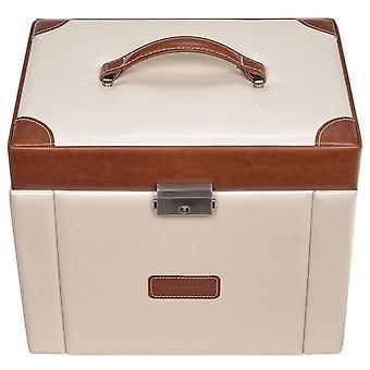 Sacher jewellery box cream Brown jewelry box, TRAVEL watch compartment lock