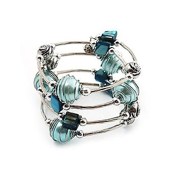 Silver Tone Beaded Multistrand Flex Bracelet - Light Blue