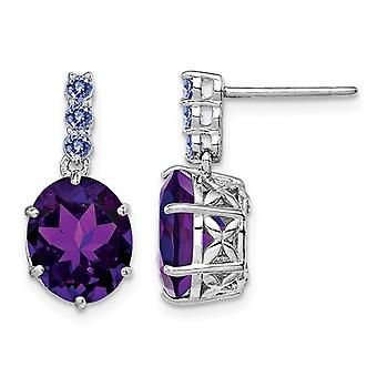 4.30 Carats (ctw) Amethyst and Tanzanite Earrings in Sterling Silver